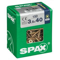 Lot de 150 vis acier tête fraisée pozidriv SPAX, Diam.3.5 mm x L.40 mm de marque SPAX, référence: B6190900