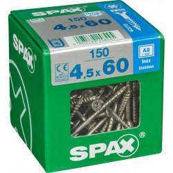 Lot de 150 vis inox tête fraisée torx SPAX, Diam.4.5 mm x L.60 mm de marque SPAX, référence: B6192500