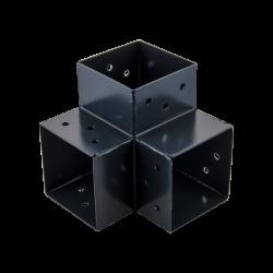 Connecteur 3D angle 90° pour poteau bois, H.9 x P.9 cm de marque SUKI, référence: B6202200