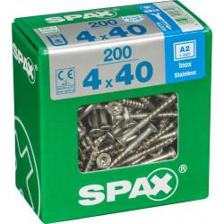 Lot de 200 vis inox tête fraisée torx SPAX, Diam.4 mm x L.40 mm de marque SPAX, référence: B6208200