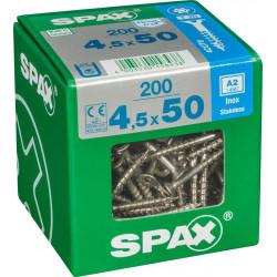 Lot de 200 vis inox tête fraisée torx SPAX, Diam.4.5 mm x L.50 mm de marque SPAX, référence: B6208300