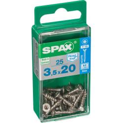 Lot de 25 vis inox tête fraisée torx SPAX, Diam.3.5 mm x L.20 mm de marque SPAX, référence: B6211100