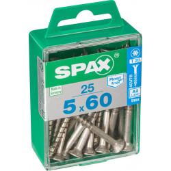 Lot de 25 vis inox tête fraisée torx SPAX, Diam.5 mm x L.60 mm de marque SPAX, référence: B6212200