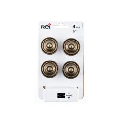 Lot de 4 boutons de meuble Rond zamak laitonné H.26 x l.35 x P.35 mm de marque REI, référence: B6218800