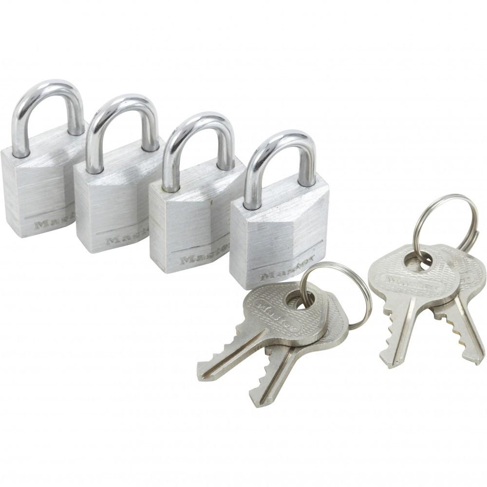 Lot de 4 cadenas à clé MASTER LOCK aluminium, l.20 mm