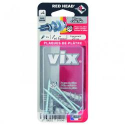 Lot de 4 chevilles et vis à visser vix RED HEAD, Diam.12 x L.30 mm de marque Red head, référence: B6220800