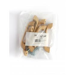Lot de 6 poignées de meuble entraxe 96 mm bois verni de marque REI, référence: B6228800