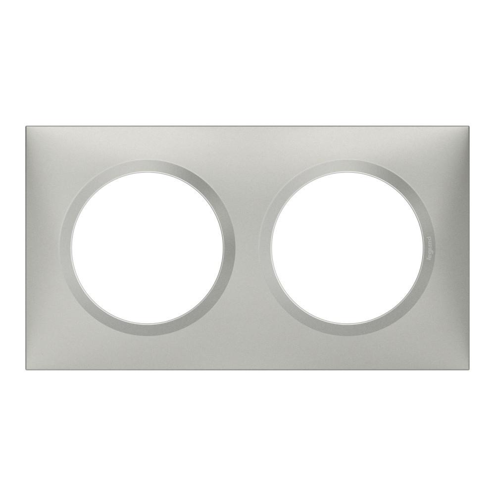 Plaque double Dooxie, LEGRAND, aluminium
