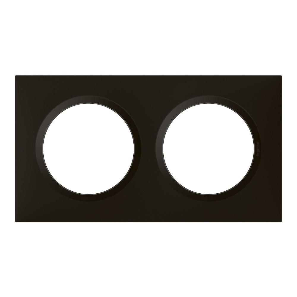 Plaque double Dooxie, LEGRAND, noir velours