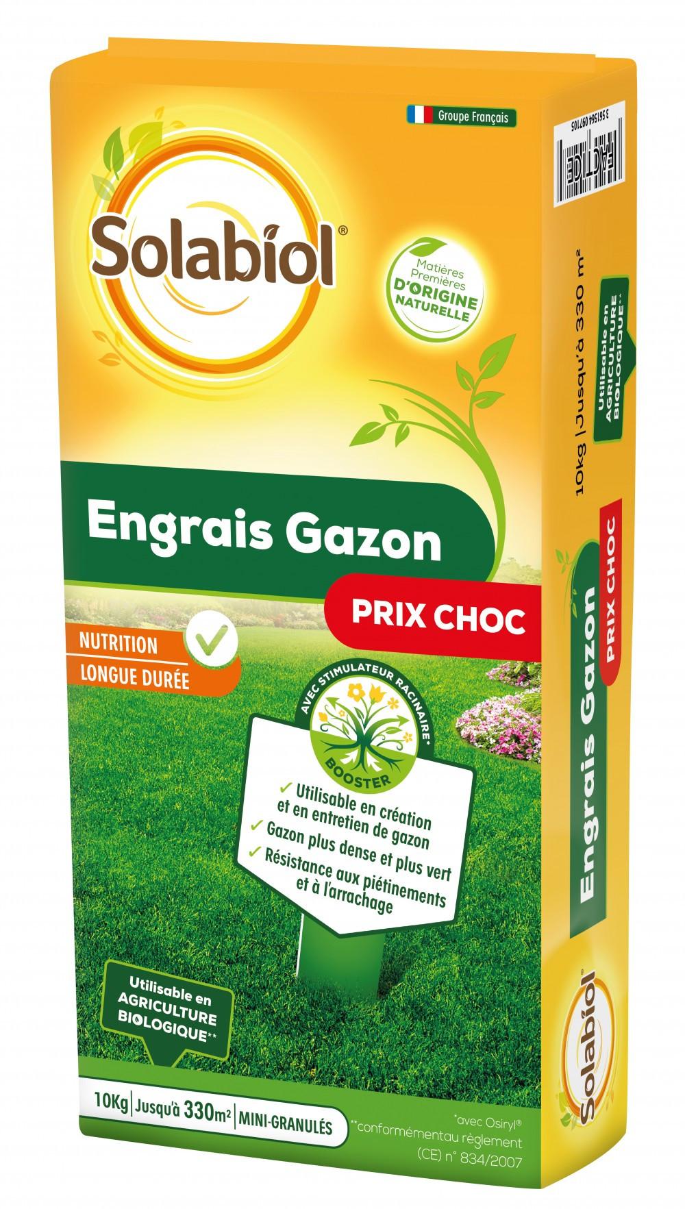Engrais naturel gazon SOLABIOL 10kg 330 m²