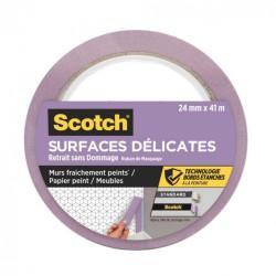 Ruban de masquage SCOTCH l.24 mm x L.41 m surfaces délicates de marque SCOTCH, référence: B6087100