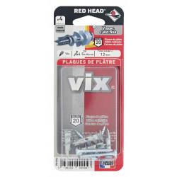 Lot de 4 chevilles et vis à visser vix RED HEAD, Diam.12 x L.30 mm de marque Red head, référence: B6220700