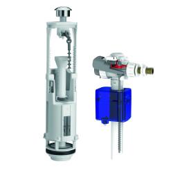 Chasse d'eau complète à étrier à double poussoir optima S/ Aquastop SIAMP de marque Siamp, référence: B6267500