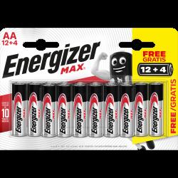 Lot de 12 + 4 piles alcaline aa Max, 1.2 V, ENERGIZER de marque ENERGIZER, référence: B6285100