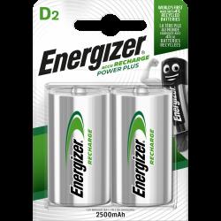 Lot de 2 piles rechargeable lr20 d, 2500 mAh, ENERGIZER de marque ENERGIZER, référence: B6289100