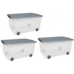 lot de 3 boites SCOTTI plastique transparent l.60 x P.39 x H.31 cm cm de marque CURVER, référence: B6295500