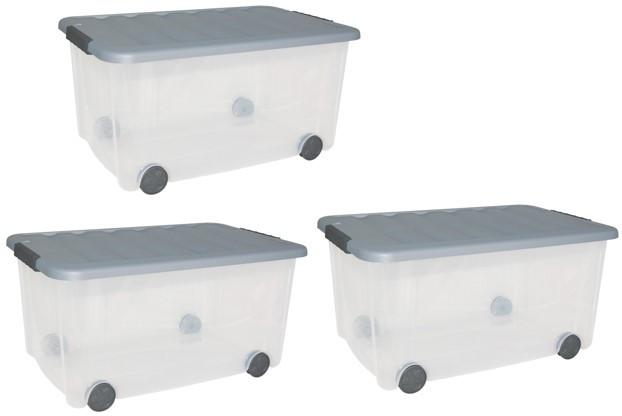lot de 3 boites SCOTTI plastique transparent l.60 x P.39 x H.31 cm cm