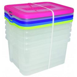 lot de 5 boîtes ALLIBERT plastique transparent l.44.8 x P.34.5 x H.22 cm cm de marque Allibert, référence: B6312100