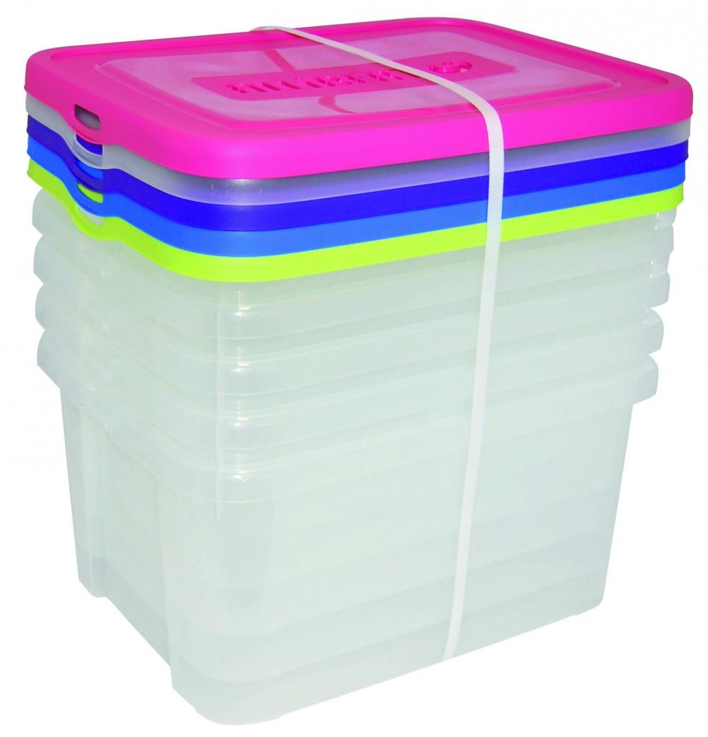 lot de 5 boîtes ALLIBERT plastique transparent l.44.8 x P.34.5 x H.22 cm cm