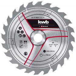 Lame pour scie sur table diamètre 250x30x3,2 mm, 24 dents de marque KWB, référence: B6333200