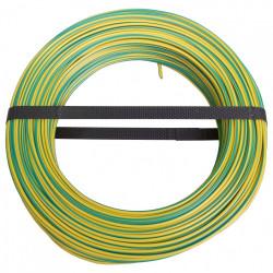 Fil électrique 2.5 mm² h07vu L.100 m, vert / jaune de marque Centrale Brico, référence: B6373300
