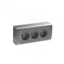 Bloc 3 prises avec terre saillie, gris / argent de marque Centrale Brico, référence: B6377600
