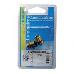 Lot de 2 raccords TIBELEC, laiton, or de marque Centrale Brico, référence: B6380200