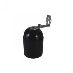 Douille lisse + équerre E27 TIBELEC, plastique, noir 60 W de marque Centrale Brico, référence: B6385800