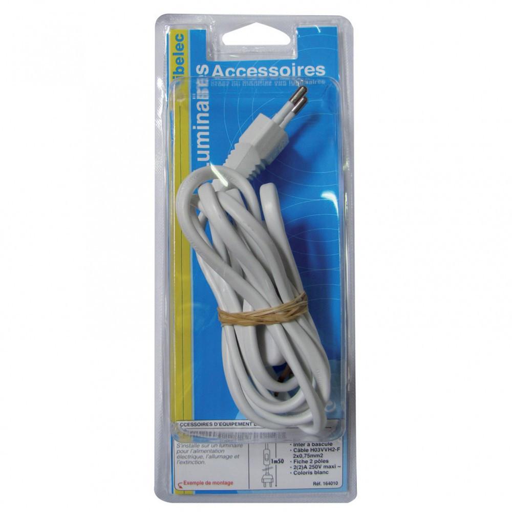 Cordon et interrupteur TIBELEC, plastique, blanc