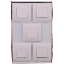 Lot de 5 interrupteurs va-et-vient complet Basic, blanc de marque Centrale Brico, référence: B6401100
