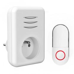 Sonnette sans fil BYRON, blanc de marque Centrale Brico, référence: B6402500