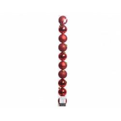 Tube de 10 boules pour arbre de Noël rouge de marque Centrale Brico, référence: B6407900