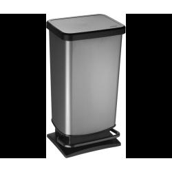 Poubelle de cuisine 40 l à pédale plastique gris de marque Centrale Brico, référence: B6409000