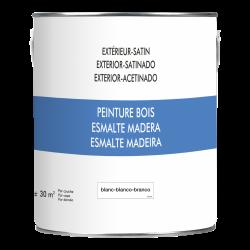 Peinture bois extérieur, blanc satiné 2.5 l de marque Centrale Brico, référence: B6416500