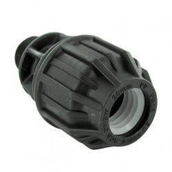 Raccord droit à compression plastique M 15 x 21 pour tube en polyéthylène de marque Centrale Brico, référence: B6451100