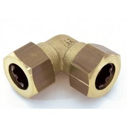 Raccord coudé 90° rapide laiton D.14 pour tube en cuivre de marque Centrale Brico, référence: B6454900