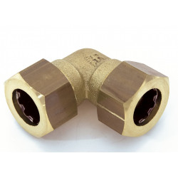 Raccord coudé 90° rapide laiton D.16 pour tube en cuivre de marque Centrale Brico, référence: B6455000