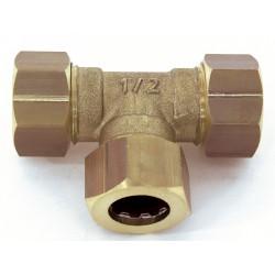 Raccord Té égal rapide laiton D.12 pour tube en cuivre de marque Centrale Brico, référence: B6455700