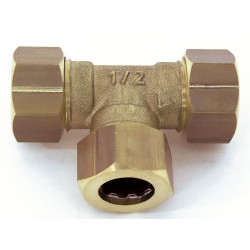 Raccord Té égal rapide laiton D.14 pour tube en cuivre de marque Centrale Brico, référence: B6455800