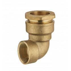 Coude F1 à compression laiton D.32 pour tube en polyéthylène de marque Centrale Brico, référence: B6458400