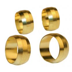 Lot de 4 bagues serrage biconique laiton D.10 pour tube en cuivre de marque Centrale Brico, référence: B6459100