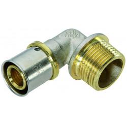 Raccord coudé 90° à sertir laiton M 20 x 27 pour tube en multicouche de marque Centrale Brico, référence: B6467600