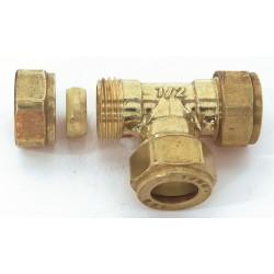 Raccord Té égal biconique laiton D.18 pour tube en cuivre de marque Centrale Brico, référence: B6472600