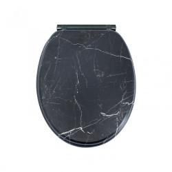Abattant déclipsable avec frein de chute bois compressé Stavos noir de marque Centrale Brico, référence: B6521000