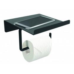 Dérouleur à papier WC métal avec tablette, noir de marque Centrale Brico, référence: B6522500