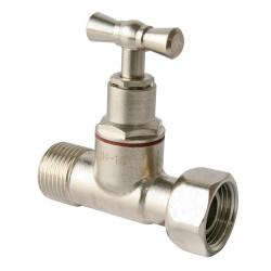 Robinet d'arrêt WC à clapet droit laiton nickelé de marque Centrale Brico, référence: B6523300