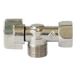 Robinet d'arrêt WC à clapet en équerre laiton nickelé de marque Centrale Brico, référence: B6523600
