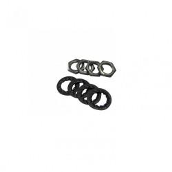 Lots de 4 écrous + 4 rondelles TIBELEC, métal, noir et gris de marque Centrale Brico, référence: B6547200