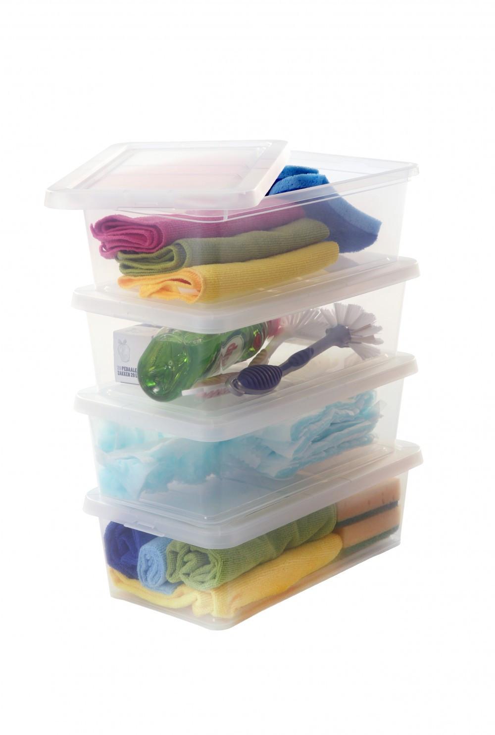 lot de 4 boites IRIS plastique transparent l.19 x P.34 x H.11 cm cm, 5 l