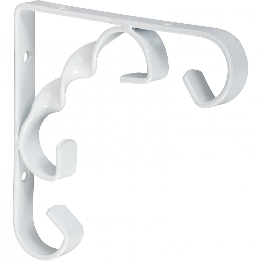 Equerre Rétro acier epoxy blanc, H.10 x P.10 cm